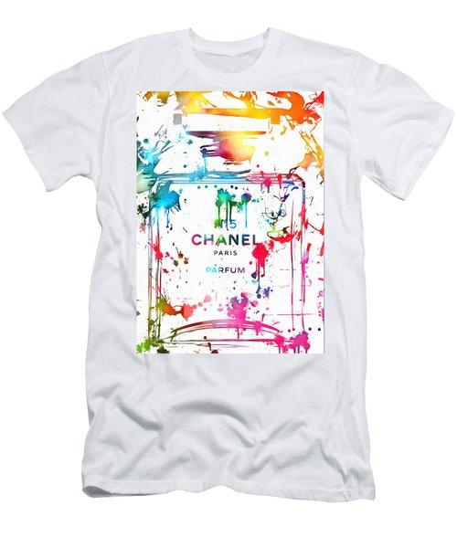 Chanel Number Five Paint Splatter Men's T-Shirt (Slim Fit) by Dan Sproul