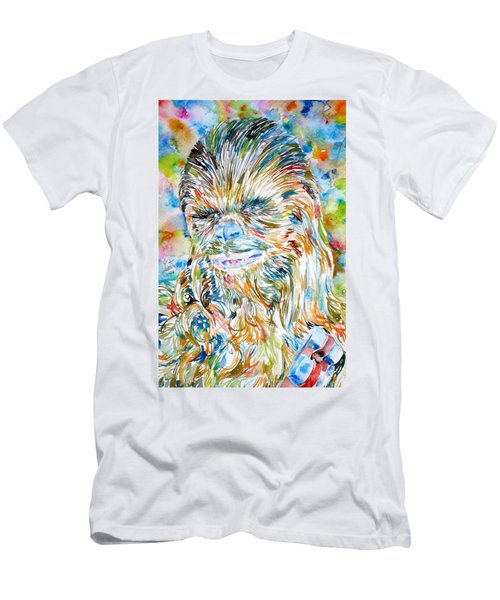 Chewbacca Watercolor Portrait Men's T-Shirt (Athletic Fit)