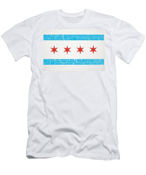 Chicago Flag Neighborhoods Men's T-Shirt (Slim Fit) by Mike Maher