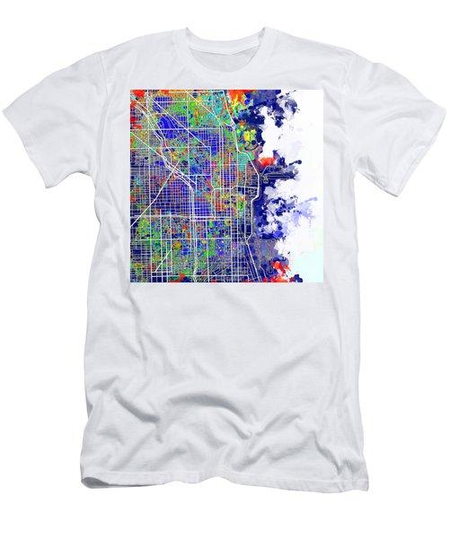 Chicago Map Color Splash Men's T-Shirt (Athletic Fit)