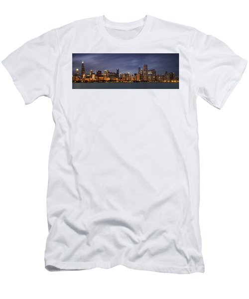 Chicago Skyline At Night Color Panoramic Men's T-Shirt (Slim Fit) by Adam Romanowicz