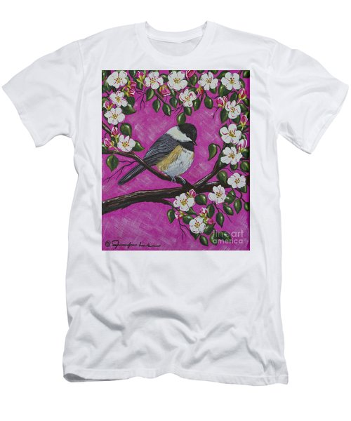 Chickadee In Apple Blossoms Men's T-Shirt (Athletic Fit)