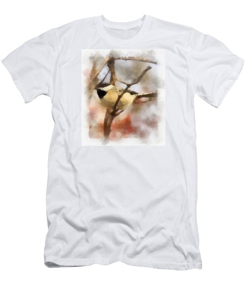 Men's T-Shirt (Slim Fit) featuring the painting Chickadee Watercolor by Kerri Farley