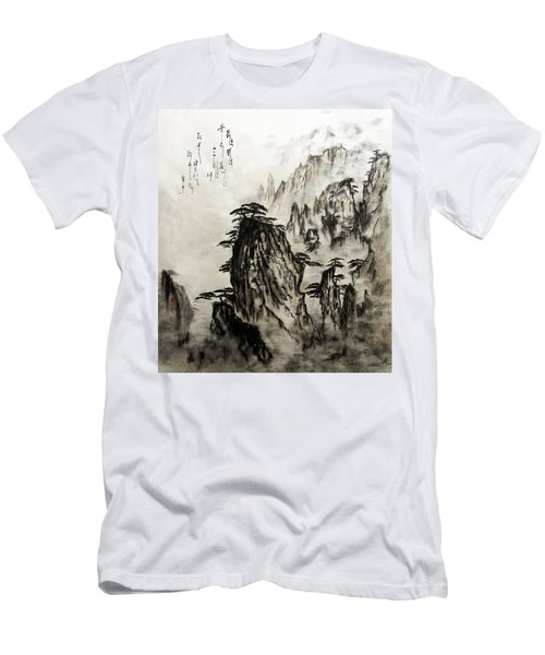 Men's T-Shirt (Slim Fit) featuring the painting Chinese Mountains With Poem In Ink Brush Calligraphy Of Love Poem by Peter v Quenter