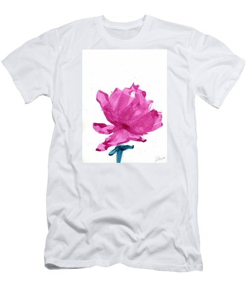 Men's T-Shirt (Slim Fit) featuring the painting Chinese Rose Hibiscus by Frank Bright