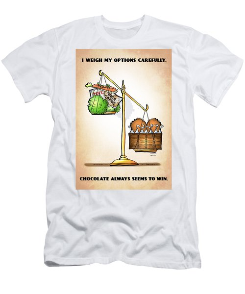 Chocolate Always Wins Men's T-Shirt (Athletic Fit)