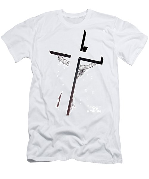 Men's T-Shirt (Slim Fit) featuring the drawing Christ On Cross by Justin Moore