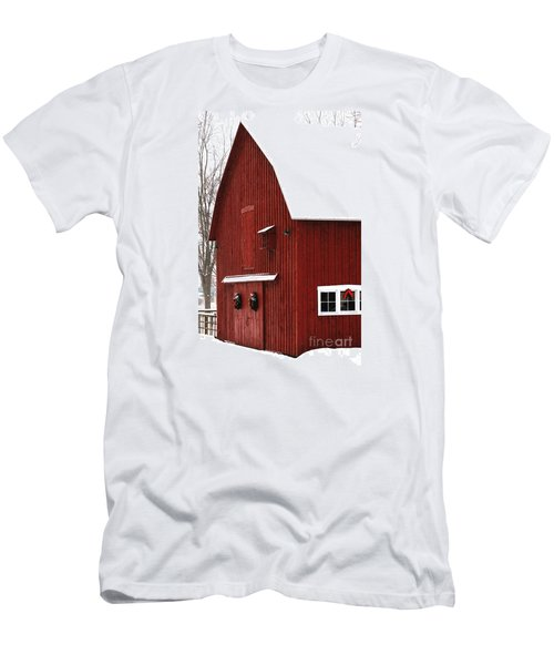 Men's T-Shirt (Athletic Fit) featuring the photograph Christmas Barn 2 by Linda Shafer