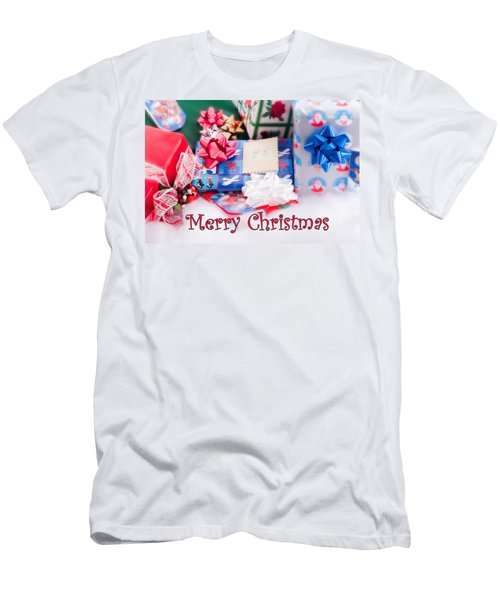 Men's T-Shirt (Slim Fit) featuring the photograph Christmas Presents On Artificial Snow by Vizual Studio