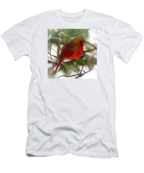Men's T-Shirt (Slim Fit) featuring the photograph Christmas Cardinal by Kerri Farley