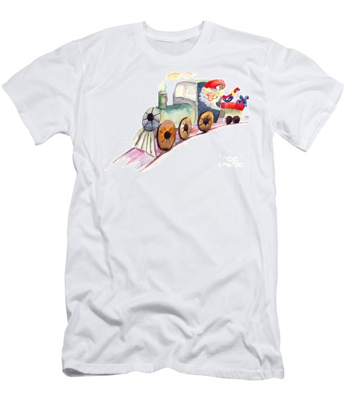 Christmas Train With Santa Claus Men's T-Shirt (Athletic Fit)