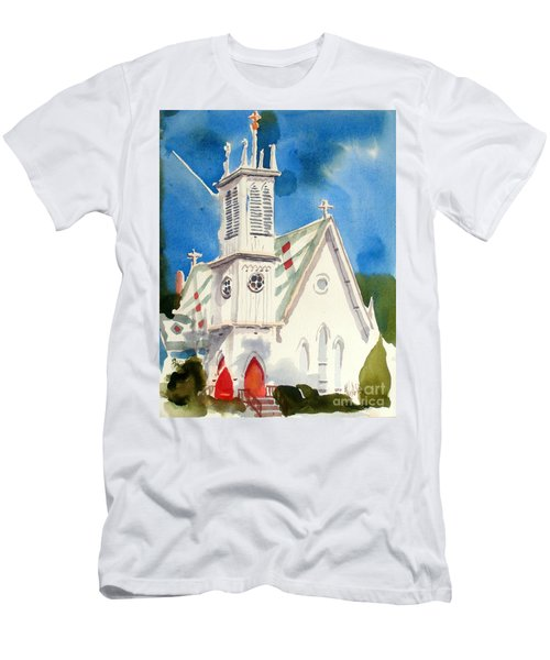 Church With Jet Contrail Men's T-Shirt (Athletic Fit)
