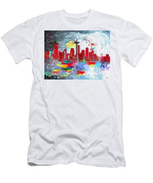 City Of Seattle Grunge Men's T-Shirt (Slim Fit) by Daniel Janda
