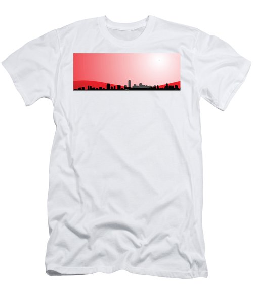 Cityscapes - Miami Skyline In Black On Red Men's T-Shirt (Slim Fit) by Serge Averbukh