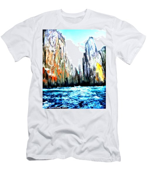 Men's T-Shirt (Slim Fit) featuring the painting Cliffs By The Sea by Bruce Nutting