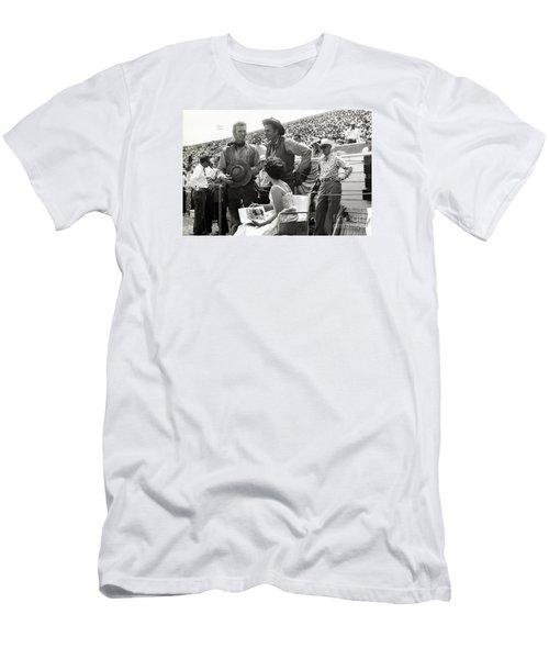 Clint Eastwood  Eric Fleming Characters Rowdy Yates Salinas California 1962 Men's T-Shirt (Slim Fit) by California Views Mr Pat Hathaway Archives