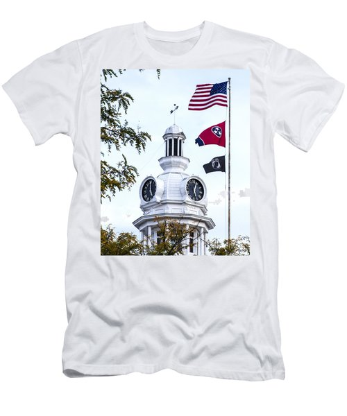 Clock Tower With Tennessee Mia Us Flag Art Men's T-Shirt (Athletic Fit)