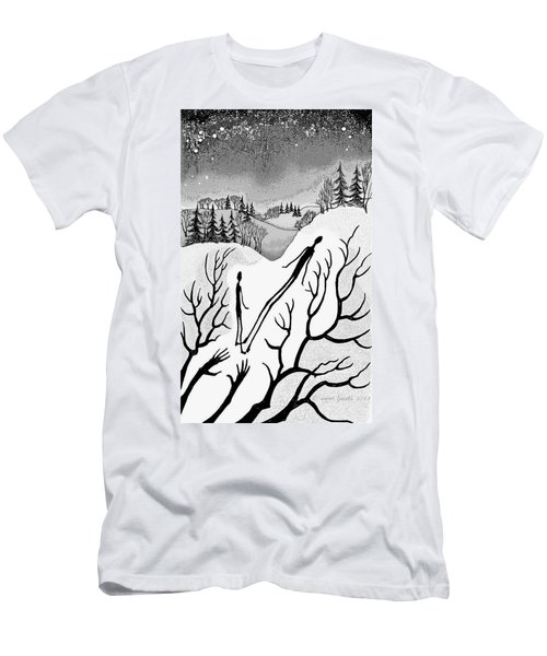 Men's T-Shirt (Slim Fit) featuring the digital art Clutching Shadows by Carol Jacobs