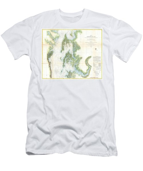 Coast Survey Chart Or Map Of The Chesapeake Bay Men's T-Shirt (Athletic Fit)
