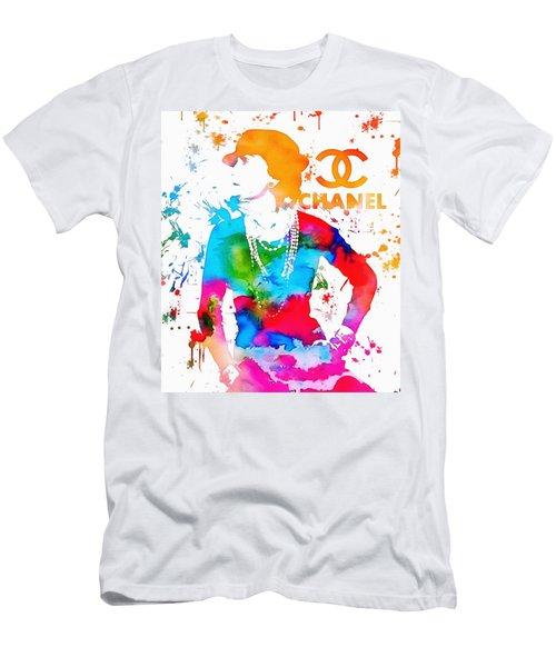 Coco Chanel Paint Splatter Men's T-Shirt (Slim Fit) by Dan Sproul