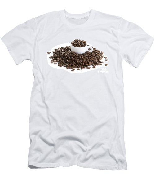 Men's T-Shirt (Slim Fit) featuring the photograph Coffee Beans And Coffee Cup Isolated On White by Lee Avison