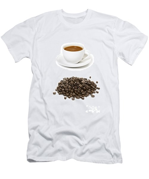 Men's T-Shirt (Slim Fit) featuring the photograph Coffee Cups And Coffee Beans by Lee Avison