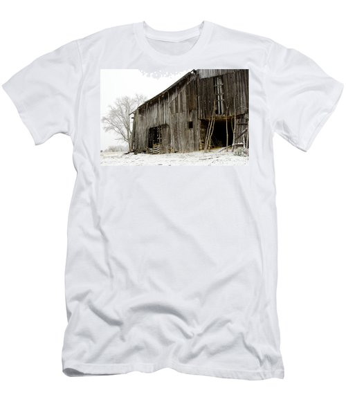Men's T-Shirt (Slim Fit) featuring the photograph Cold Winter At The Barn  by Wilma  Birdwell
