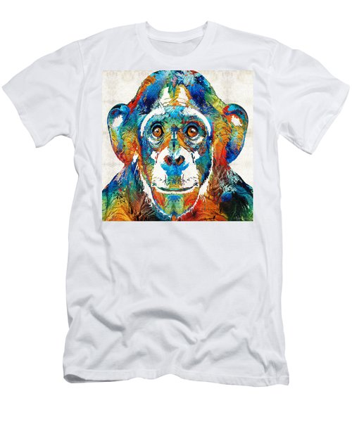 Colorful Chimp Art - Monkey Business - By Sharon Cummings Men's T-Shirt (Slim Fit) by Sharon Cummings