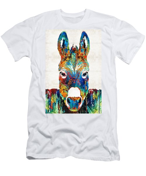 Colorful Donkey Art - Mr. Personality - By Sharon Cummings Men's T-Shirt (Slim Fit) by Sharon Cummings
