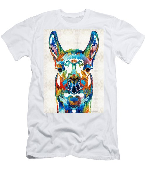 Colorful Llama Art - The Prince - By Sharon Cummings Men's T-Shirt (Slim Fit) by Sharon Cummings
