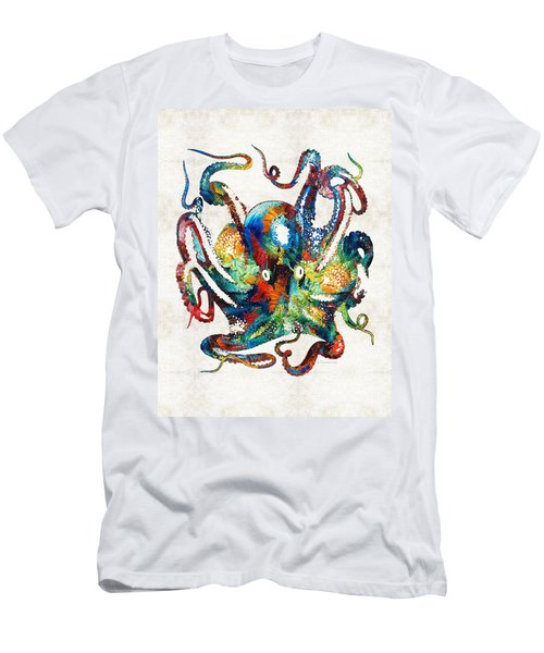 Colorful Octopus Art By Sharon Cummings Men's T-Shirt (Athletic Fit)