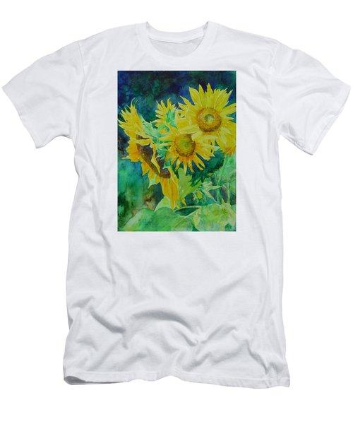 Colorful Original Sunflowers Flower Garden Art Artist K. Joann Russell Men's T-Shirt (Slim Fit) by Elizabeth Sawyer