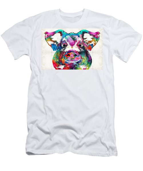 Colorful Pig Art - Squeal Appeal - By Sharon Cummings Men's T-Shirt (Athletic Fit)