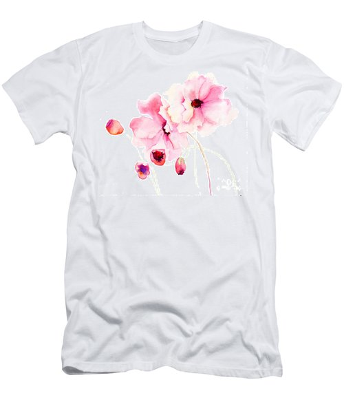 Colorful Pink Flowers Men's T-Shirt (Athletic Fit)
