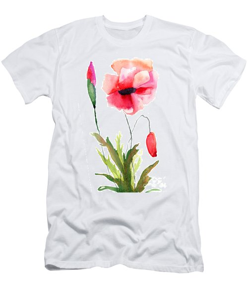 Colorful Poppy Flowers Men's T-Shirt (Athletic Fit)