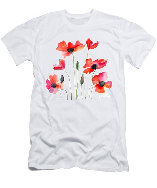 Colorful Red Flowers Men's T-Shirt (Athletic Fit)