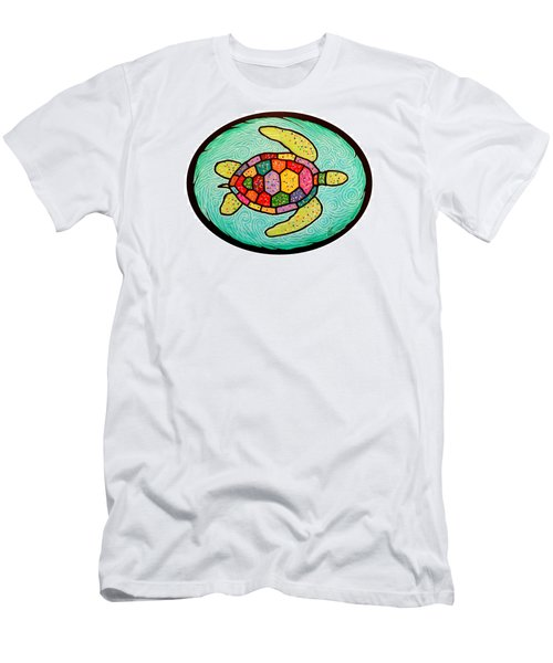 Colorful Sea Turtle Men's T-Shirt (Slim Fit) by Jim Harris