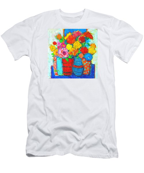 Colorful Vases And Flowers - Abstract Expressionist Painting Men's T-Shirt (Athletic Fit)