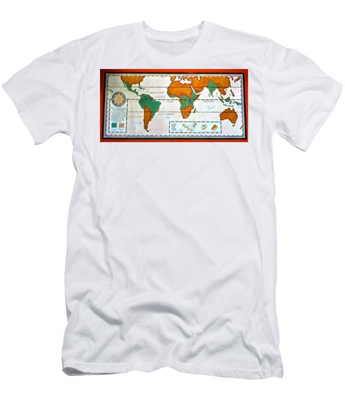 Colorful World Map Of Coffee Men's T-Shirt (Athletic Fit)