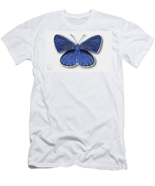 Common Blue Butterfly - Polyommatus Icarus Butterfly Naturalistic Painting - Nettersheim Eifel Men's T-Shirt (Athletic Fit)