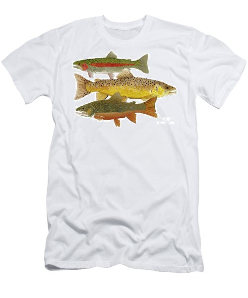 Men's T-Shirt (Slim Fit) featuring the painting Common Trout  Rainbow Brown And Brook by Thom Glace