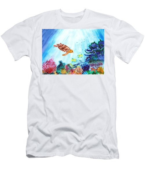 Men's T-Shirt (Slim Fit) featuring the painting Coral Reef by Donna Walsh