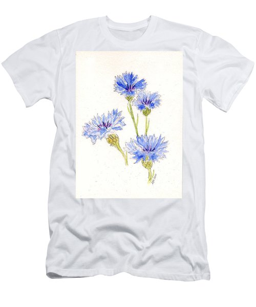 Men's T-Shirt (Slim Fit) featuring the painting Cornflowers by Stephanie Grant