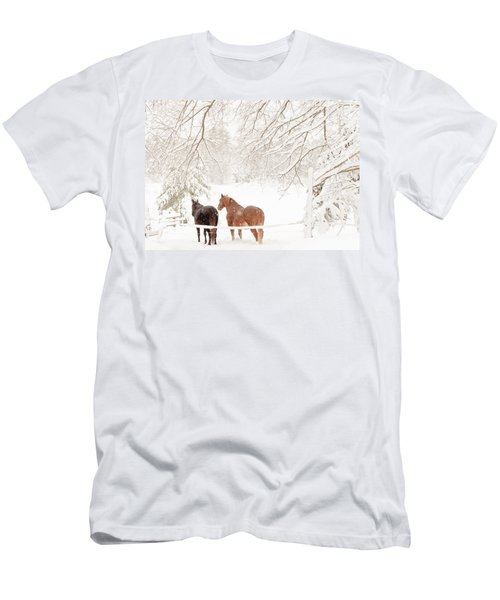 Country Snow Men's T-Shirt (Slim Fit) by Cheryl Baxter