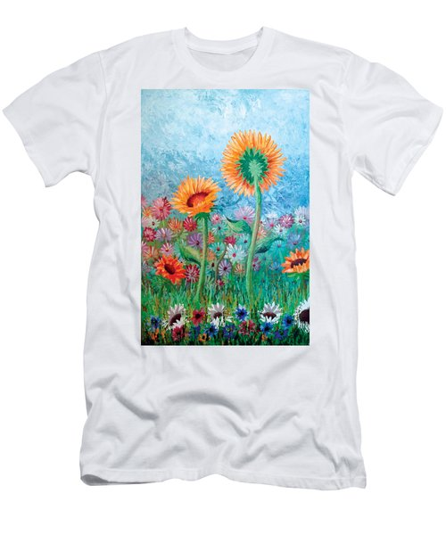 Courting Sunflowers Men's T-Shirt (Athletic Fit)