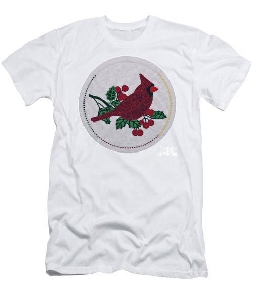 Cradleboard Beadwork Winter Cardinal Men's T-Shirt (Athletic Fit)