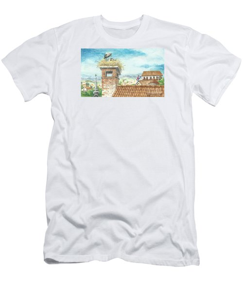 Men's T-Shirt (Slim Fit) featuring the painting Cranes In Croatia by Christina Verdgeline