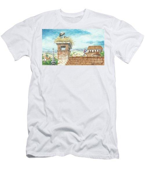 Cranes In Croatia Men's T-Shirt (Athletic Fit)