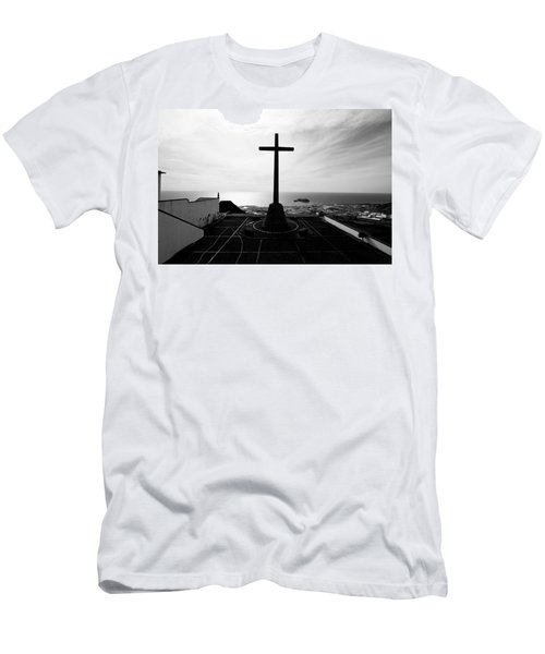 Cross Atop Old Chapel In Village  Men's T-Shirt (Athletic Fit)