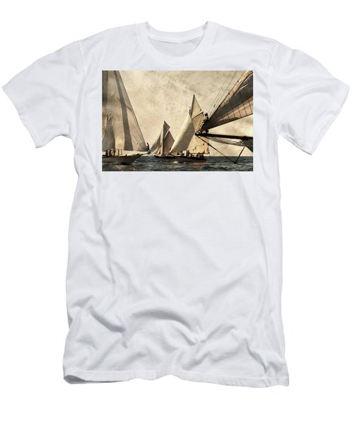 A Vintage Processed Image Of A Sail Race In Port Mahon Menorca - Crowded Sea Men's T-Shirt (Athletic Fit)